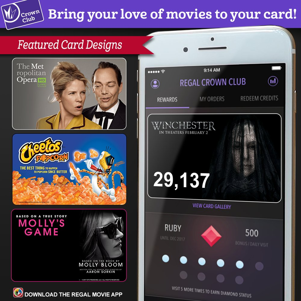 Now you can use the app to: • Get refunds for ticket purchases. • Get Regal Crown Club credits after you visit the concession counter or box office by entering the claim codes on your receipt.