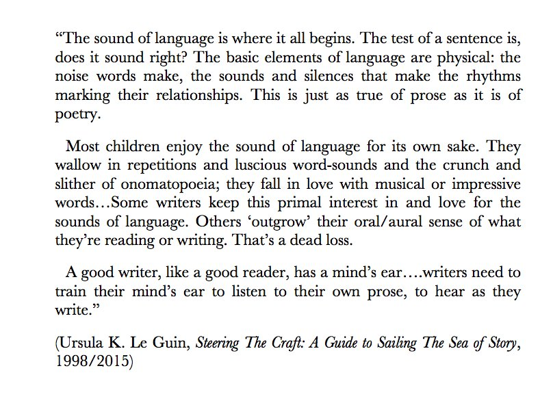 Her Book On The Craft Of Writing By Stressing The Vital Importance Of The Sound Rhythm Of Prose As Well As Poetry Yes Pic Twitter Com Hwc6o3qfd3