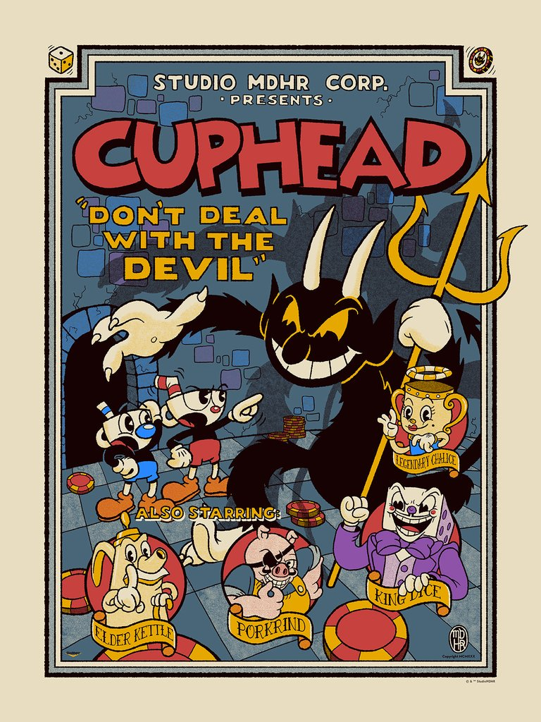 Awesome #Cuphead screen print by @hasUnow is on sale right now @BottleneckNYC ! bottleneckgallery.com/collections/fr…