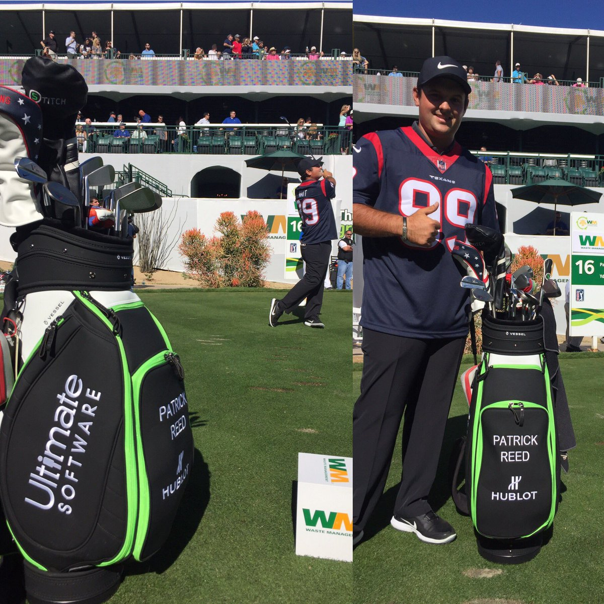 @HoustonTexans Love to rep our Texans! Having some fun at the #GreenestShow @UltimateHCM @Hublot @nikegolf