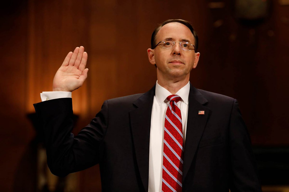 #BreakingNews   @ABC confirms that Donald J. Trump last month at a meeting in The White House asked Deputy Atty. General Rod Rosenstein - who oversees Special Counsel Robert Mueller in the Russia investigation into the Trump campaign - whether he was part of Trump's team.