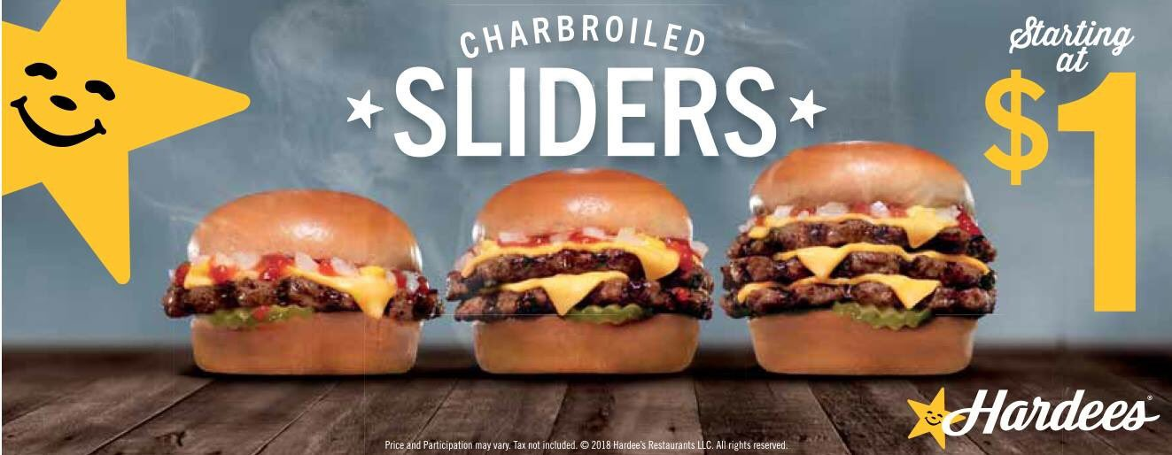 dave weekley on twitter hardees charbroiled sliders are back and have been added permanently to the regular menu inorout producercoop stevebishopv100 bradhowe07 wsazirr https t co 2sdchd00vj hardees charbroiled sliders
