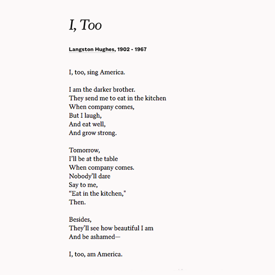commentary too sing america langston hughes Let america be america again five plays by langston hughes (indiana university press, 1963) poetry in translation cuba libre (anderson & ritchie, 1948.