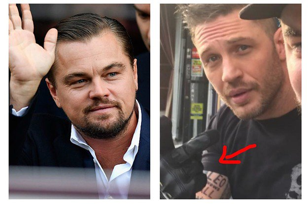 a24e3b1ac tom hardy got a tattoo that says leo knows all after losing a bet to  leonardo
