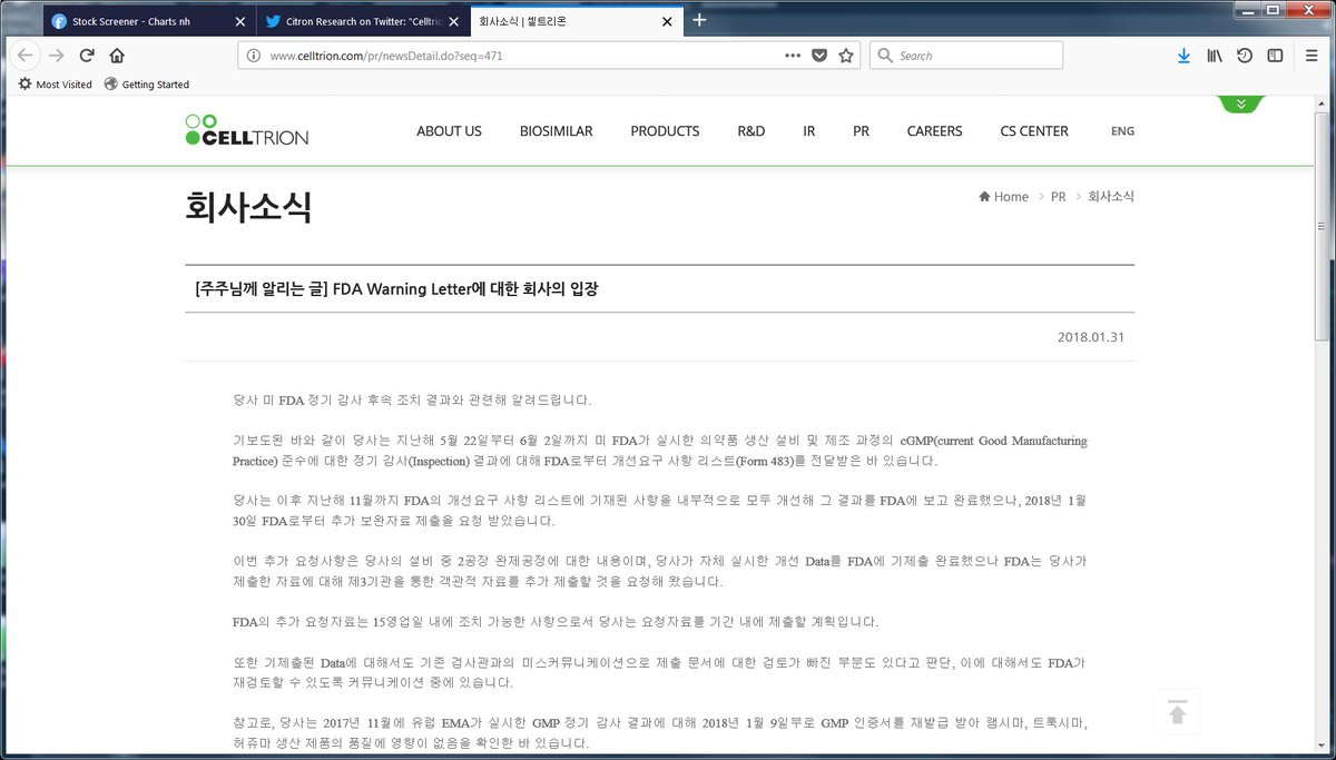 Citron Research On Twitter Celltrion Korea 068270 Just Received A