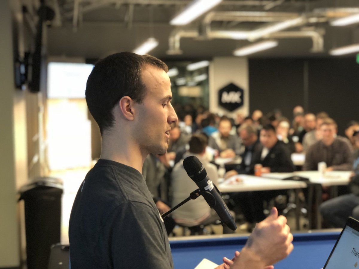 me speaking to a crowd of developers