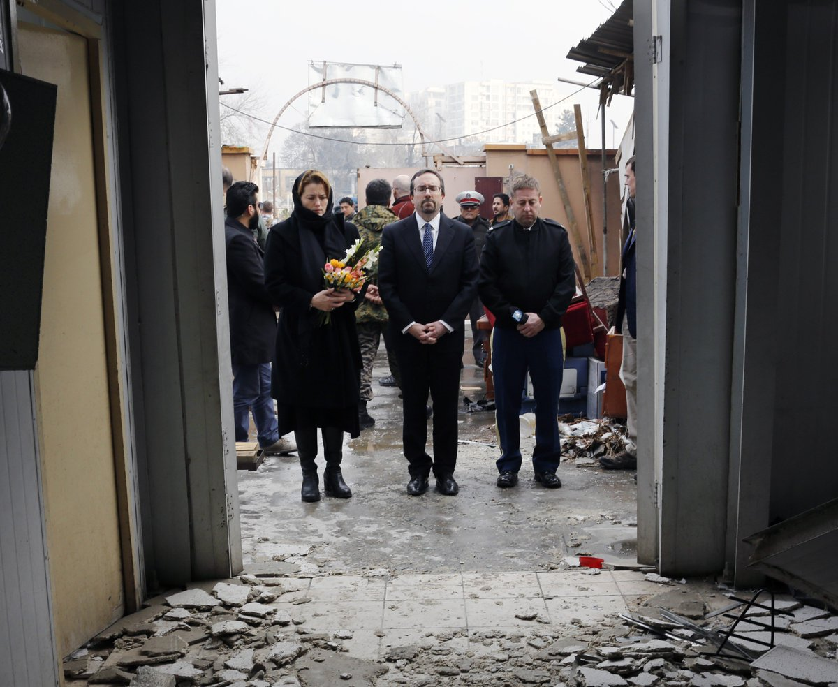 To pay our respects to the victims, my wife & our senior military advisor joined me at the site of Saturday's terrible bombing in #Kabul. U.S. support to #Afghanistan & its citizens seeking to live in peace continues – as does our commitment to help seek justice for those lost.