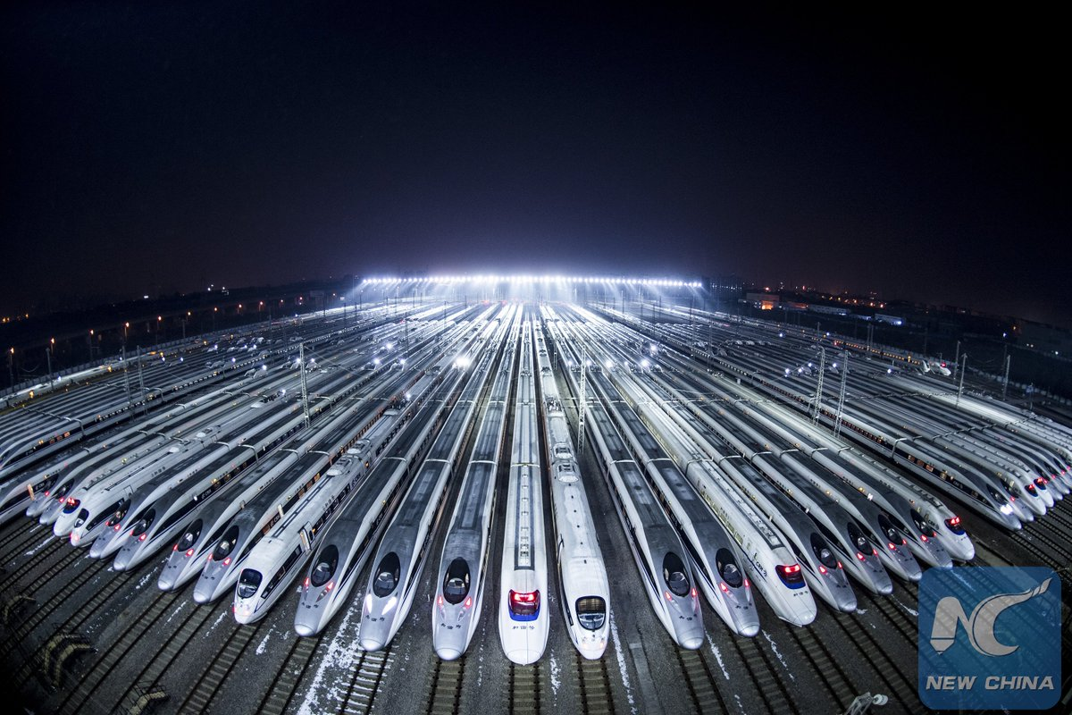 High Speed trains ready to take u home! Abt 2.98 bln trips expected to be made during 2018 Spring Festival travel rush in China