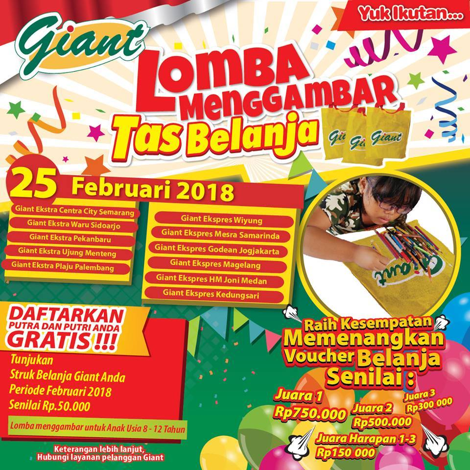 Hai Event On Twitter Lomba Menggambar Tas Belanja Giant 25 Voucher Rp 500 000 Loading Seems To Be Taking A While
