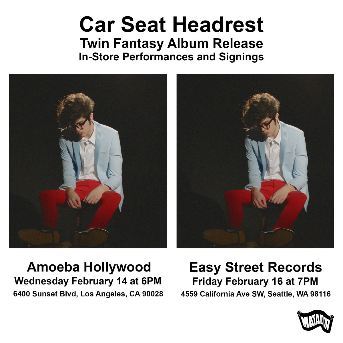During The Week Of Twin Fantasys Release Carseatheadrest Will Be At Amoebamusic In Hollywood And EasyStRecords Seattle For Store Performances