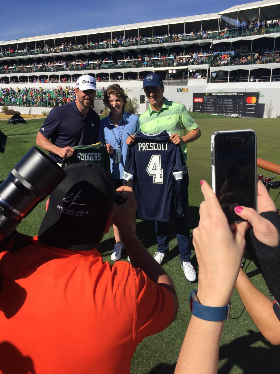 So much fun yesterday with @AaronRodgers12 and Morgan – she's an inspiration for all of us! What a way to start the week at @WMPhoenixOpen!