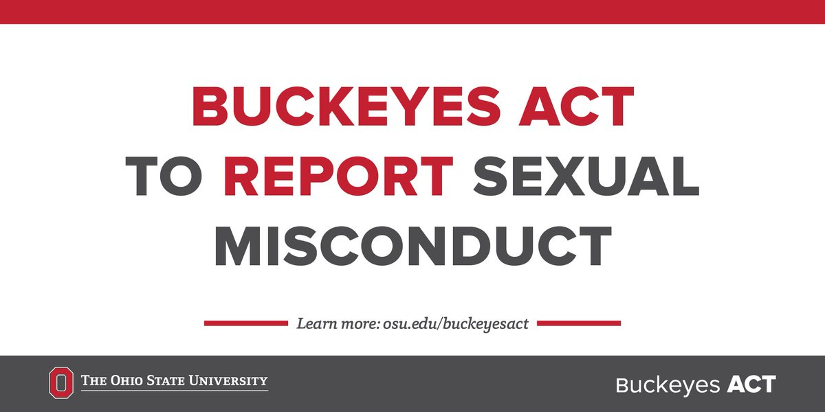 A wide range of support services are available to students, faculty, and staff impacted by sexual misconduct. Visit Buckeyes ACT to find the resources you need: https://t.co/7gbrrsNTjJ
