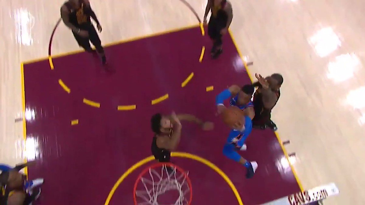 Westbrook is EVERYWHERE!  #TripleDoubleWatch  He has 14 PTS, 8 AST, 5 REB already in the first half on #NBAonABC! https://t.co/5FtxGBvveV