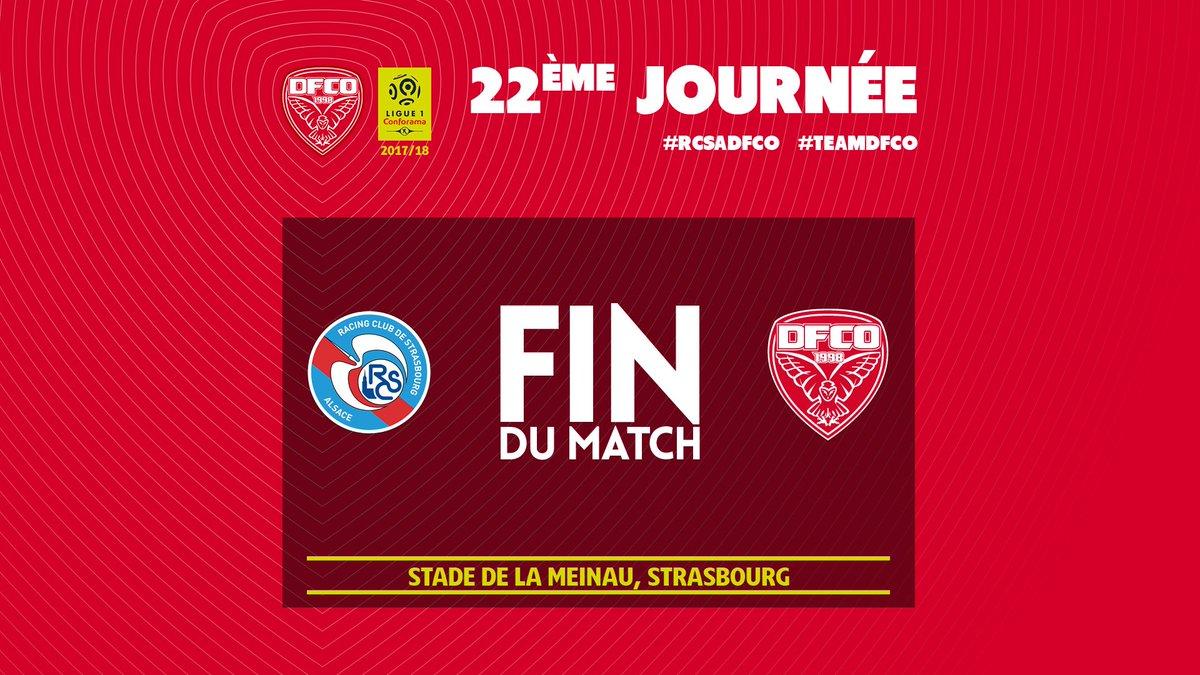Malgré une énorme débauche d'énergie, le @DFCO_Officiel s'est finalement  incliné sur le score de 3 buts à 2 face au @RCSA.  Résumé, réactions et photos sur https://t.co/WE1BWdKNs7 dans quelques minutes.  #DFCO #RCSADFCO #Ligue1Conforama
