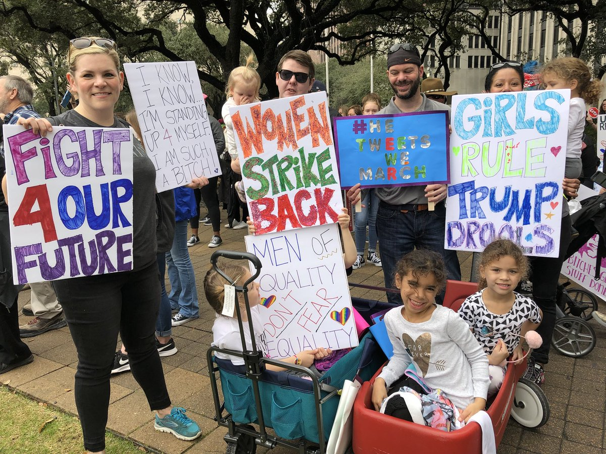 #WomensMarch2018 Thousands of men and women are standing for equality and women's rights on the front lawn of Houston City Hall.