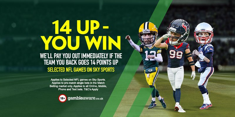 Our NFL 14-Up offer applies to both games on Sunday! We pay out immediately if the team you back goes 14 up!  https://t.co/FrfkXQYAEs