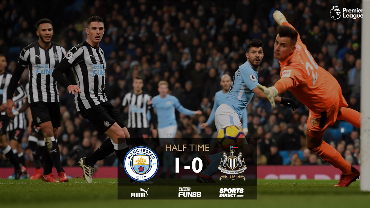 HALF TIME Manchester City 1-0 Newcastle United   #NUFC