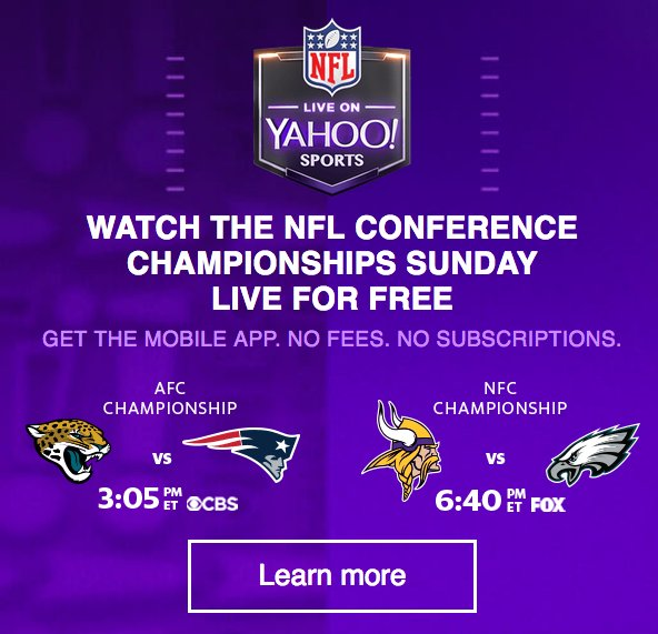 If for some reason you can't be near a TV tomorrow, both NFL games will be broadcast on Yahoo's mobile app