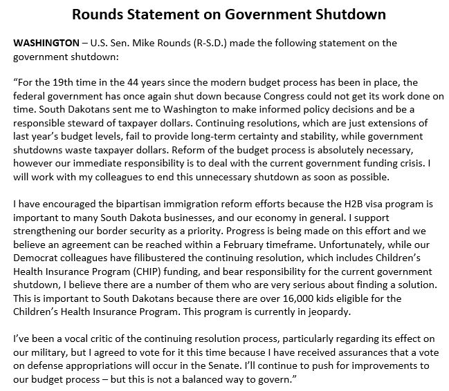 My full statement on the government shutdown: https://t.co/zuy1NG8hM6 https://t.co/31xZXa6ab5