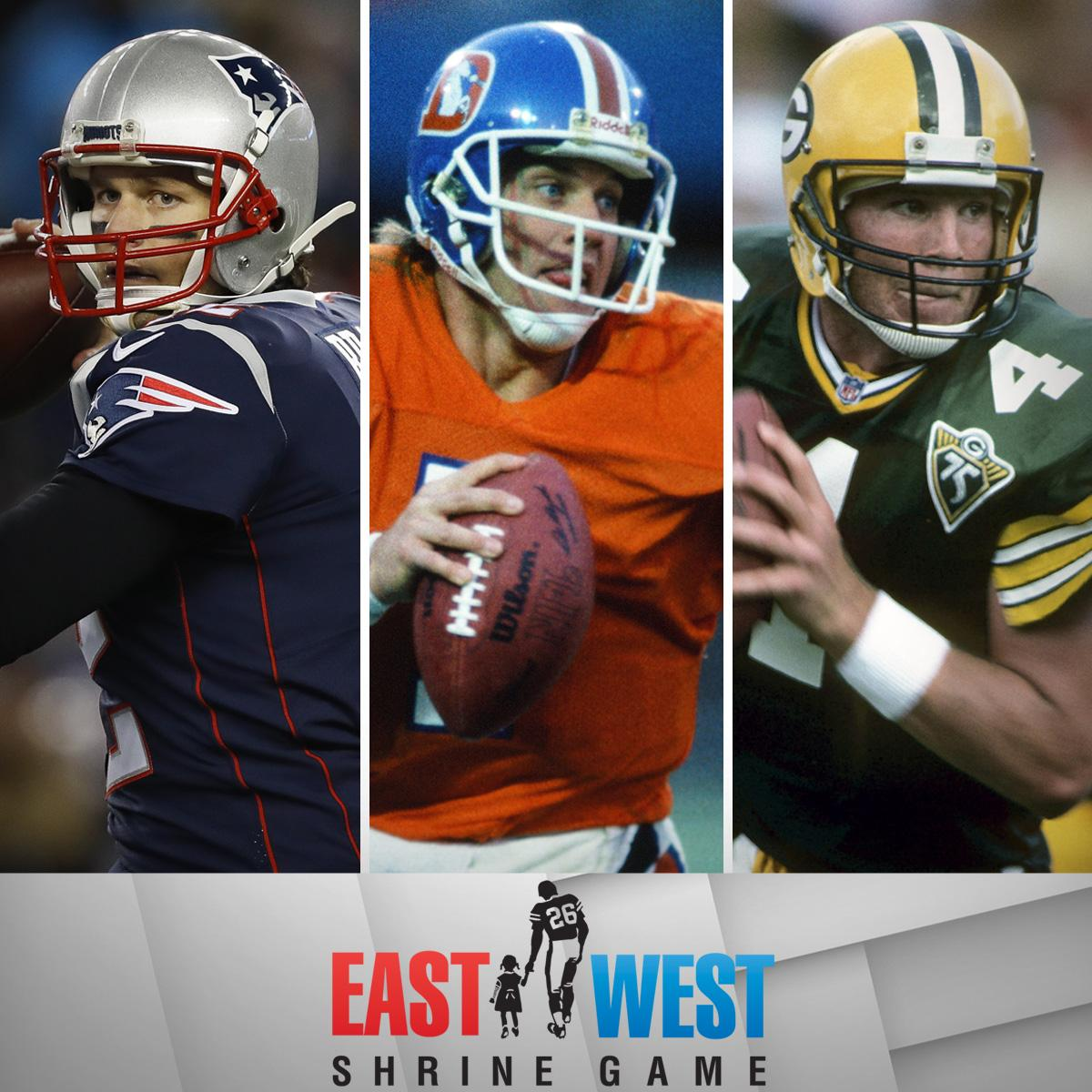 Tom Brady. @johnelway. @Favre4Official.  Just a few of the legendary @Shrine_Game alums.  Tune in for this year's game on @nflnetwork at 3 p.m. ET!
