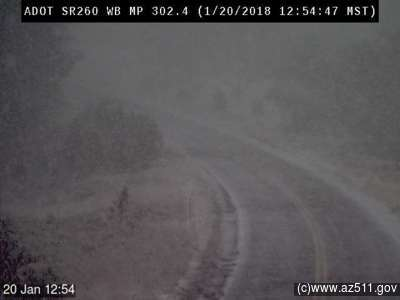 The winter storm has moved into Heber. Here's a view from our camera on SR 260. #azwx