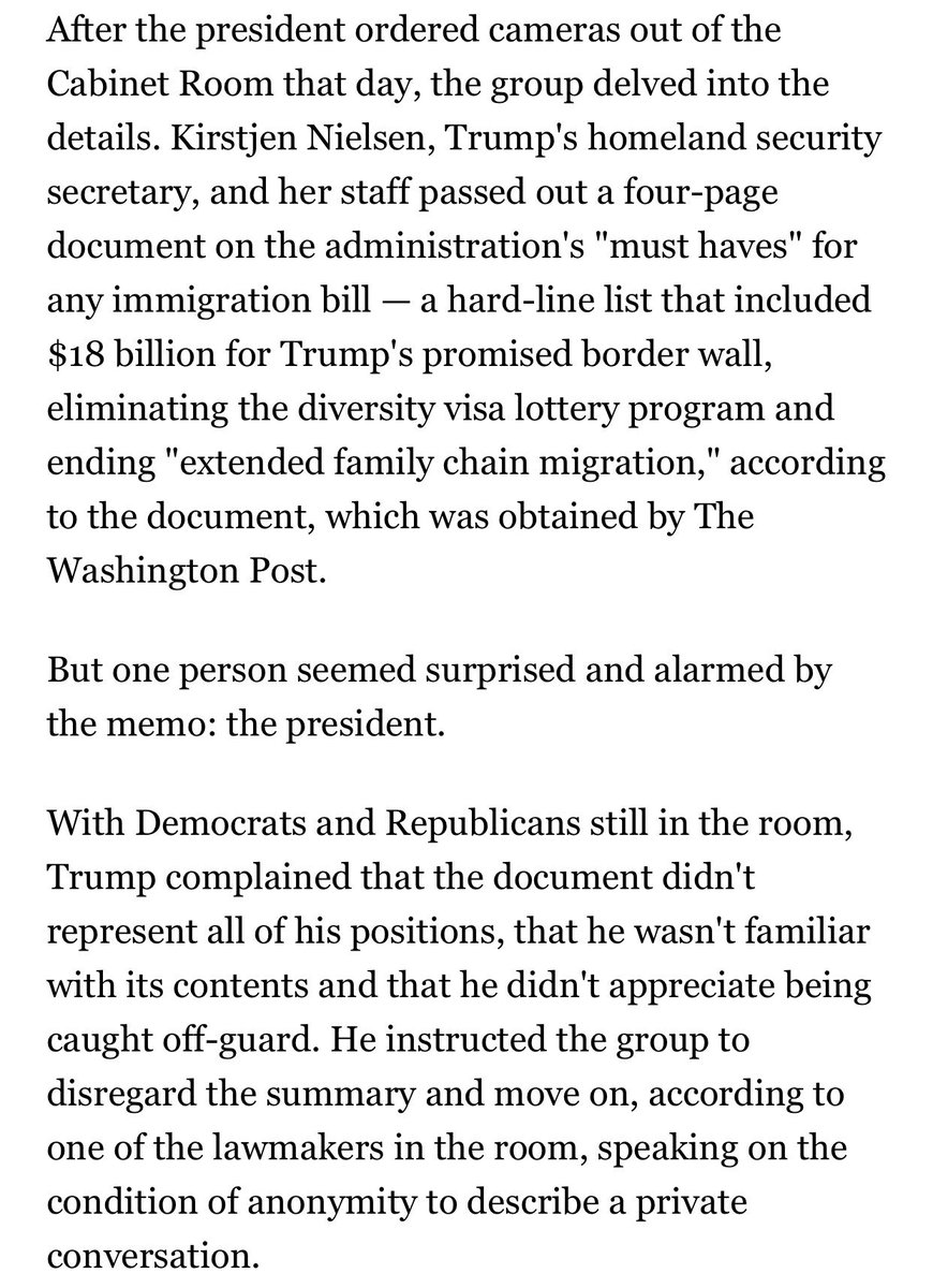 As the White House raced to avert a shutdown, Trump's DHS chief passed out a memo outlining the White House position. The only problem: Trump had never seen it — and disagreed with its contents. https://t.co/OyBhjYHgy9