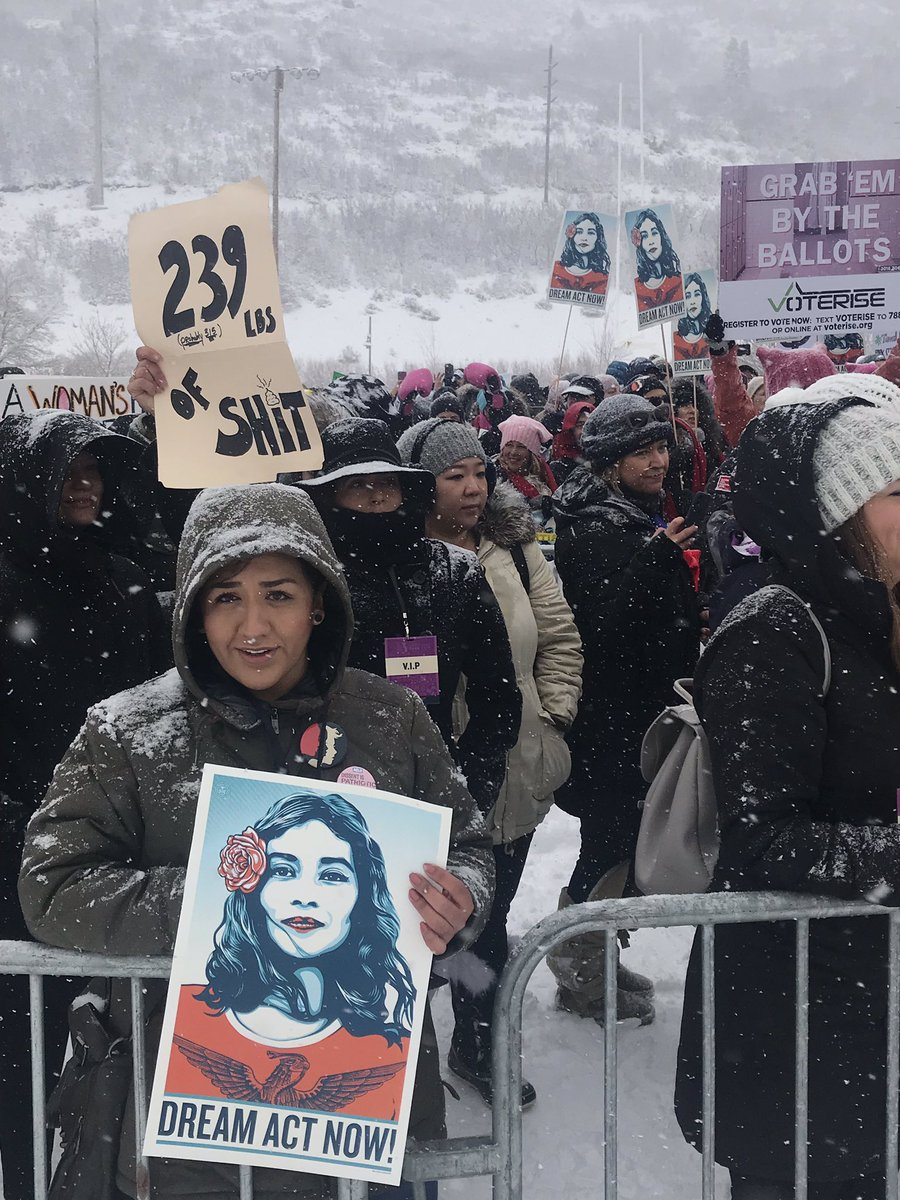 📸 Demonstrators in Park City, Utah today turned out in a snowstorm for a 'Respect Rally' #WomensMarch #Sundance