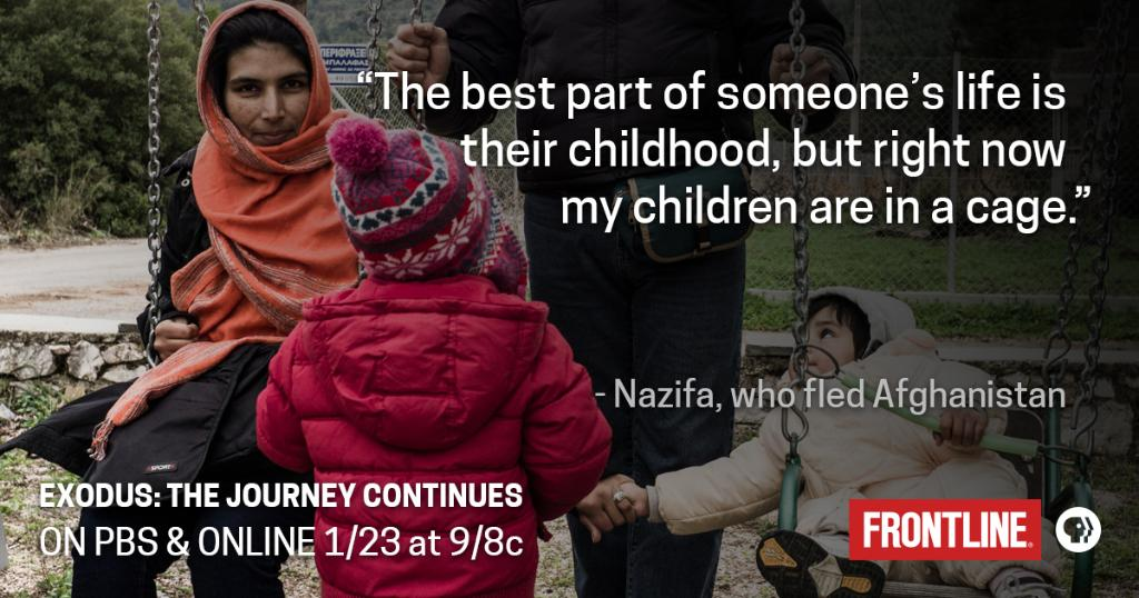 Nazifa fled Afghanistan. Her two young children have spent their entire lives in camps as Europe's borders tightened. Her and her family's story unfolds on 1/23 in 'Exodus: The Journey Continues.'   More on our upcoming film: https://t.co/zwBwfd8QzJ