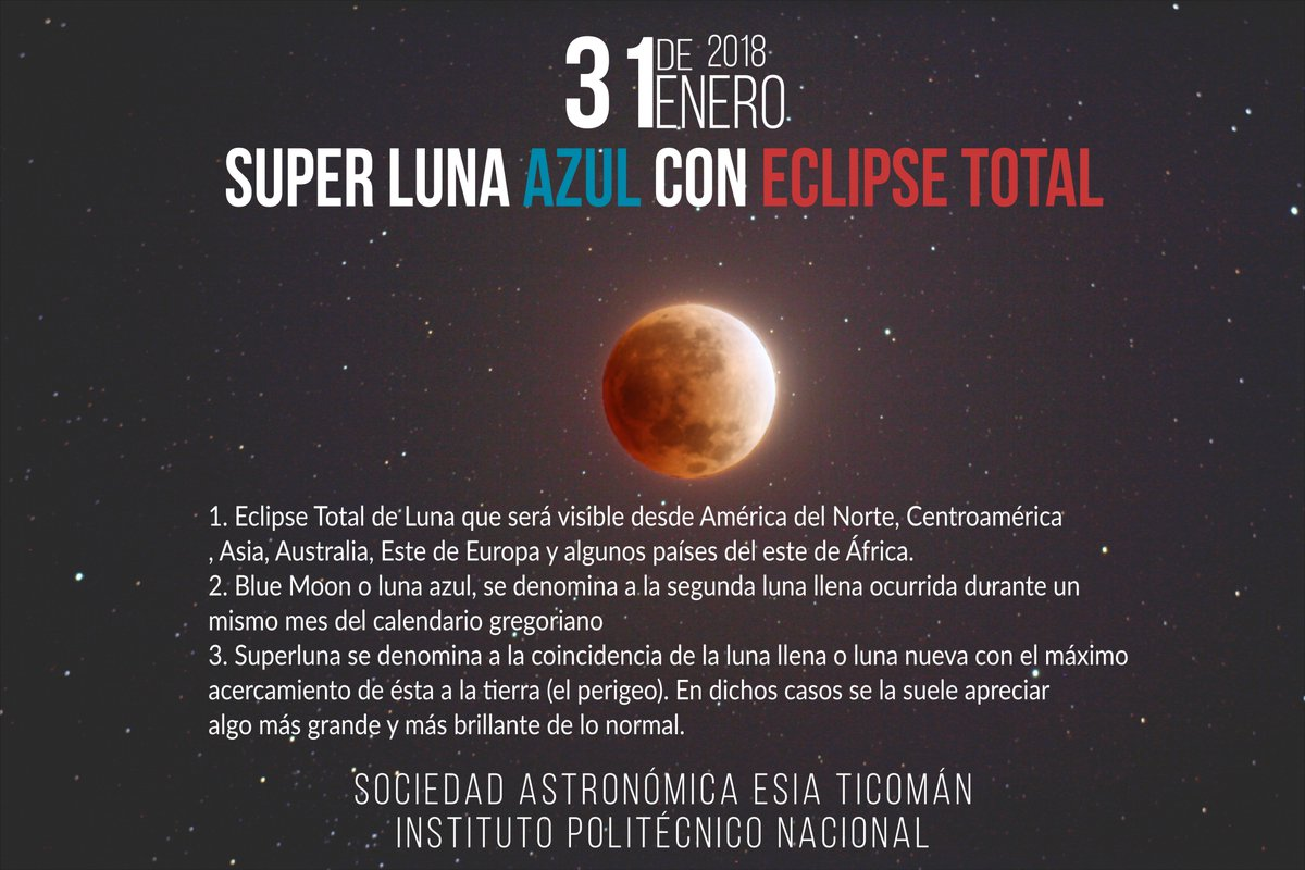 ECLIPSE LUNAR Y SUPERLUNA 31 DE ENERO DE 2018