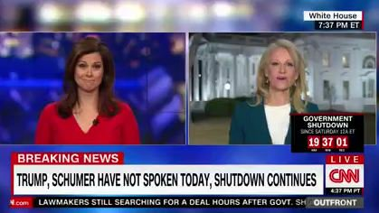 Kellyanne Conway: '...in an hour meeting that you covered live, thank you for doing that. I think it's great to have that type of transparency and accountability in our government.'  CNN's Erin Burnett: 'Would have been nice to have cameras in the meeting where he said s-holes.'