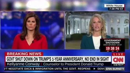 Kellyanne Conway on CNN argues there's more urgency to stopgap funding than DACA, which 'needs to be resolved by March.'  It's an 'issue that's not even due right now, that the president has said he will negotiate on,' she says of DACA.