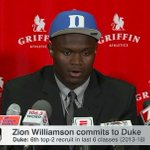 Zion Williamson is a Duke Blue Devil.  Duke now ha...