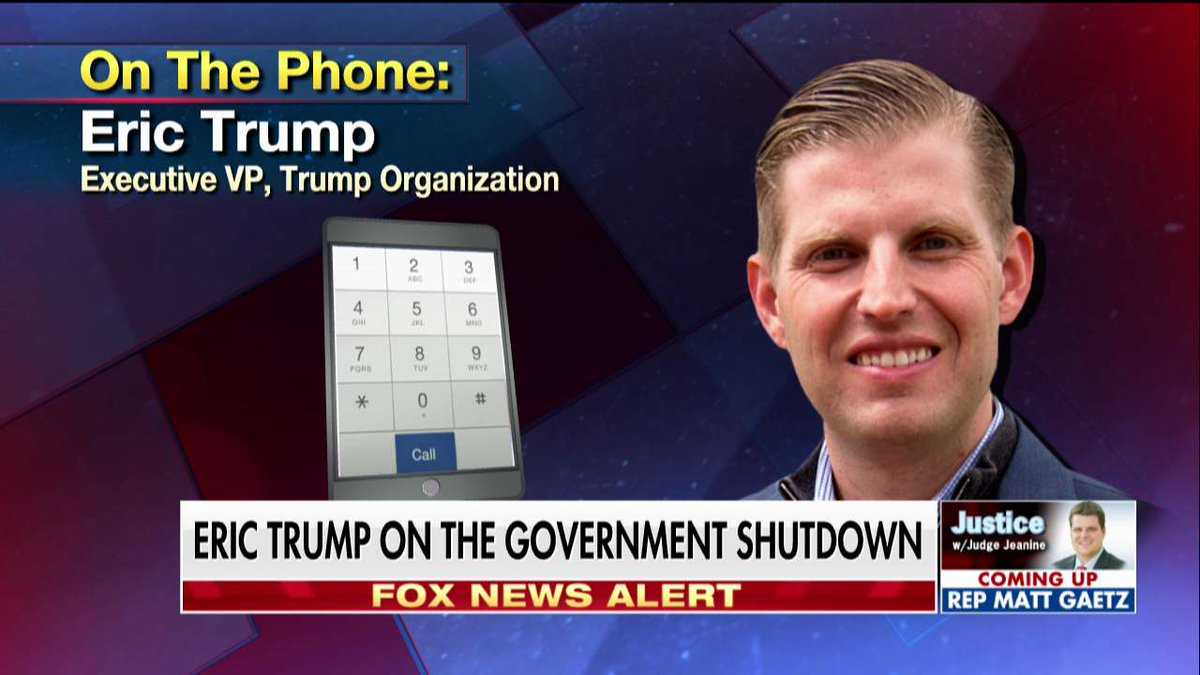 .@EricTrump: 'My father was elected for one reason, and that's because he actually believes in putting America first, which is overwhelming among the citizens of this country.' @JudgeJeanine