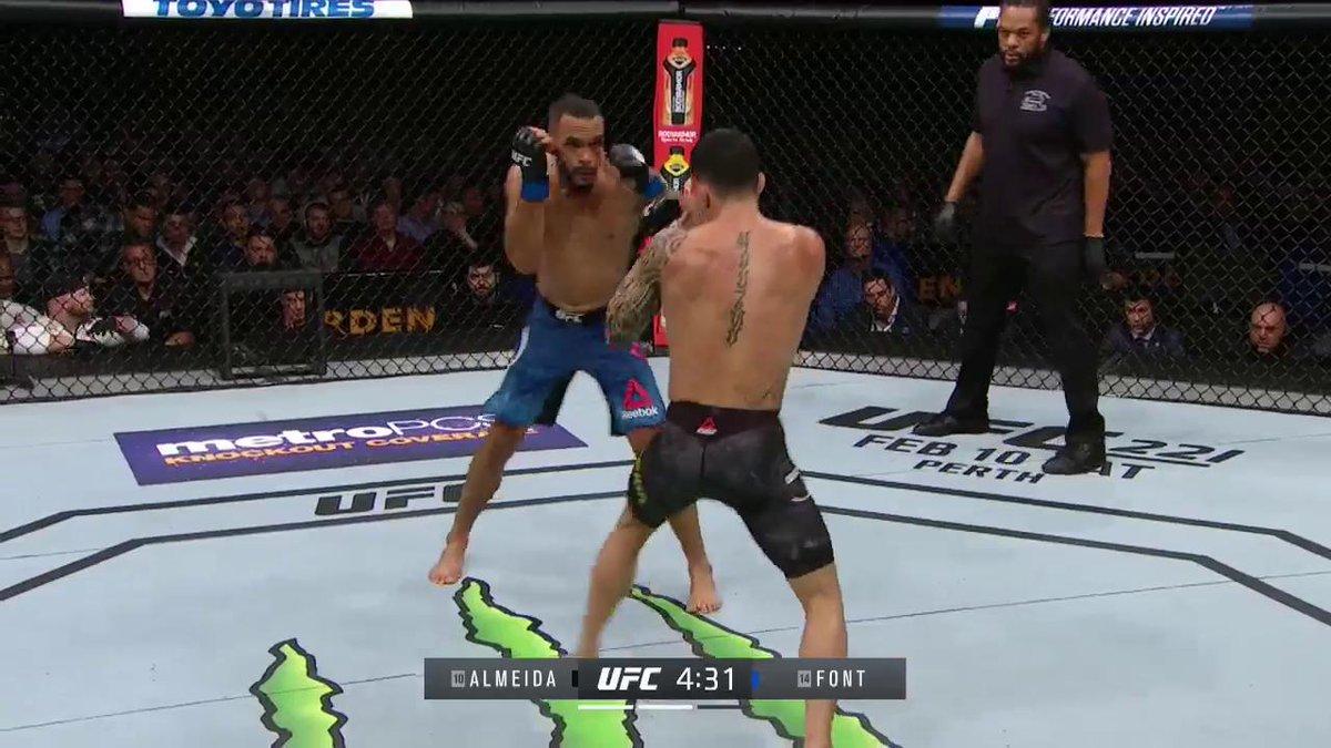 RT @ufc: A MONSTER RIGHT! 👊  @RobSFont stuns Almeida early in round two. #UFC220 https://t.co/mA21goSMcS