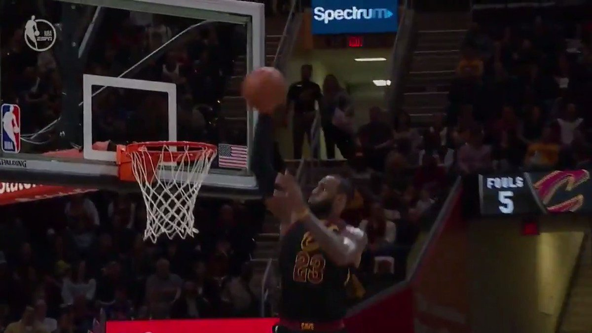 #LeBronJames TAKES FLIGHT off the D-Wade dish for the #AssistOfTheNight!  #AllForOne https://t.co/noc78ZdIcZ