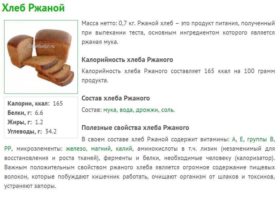 Сколько калорий в черном ржаном хлебе