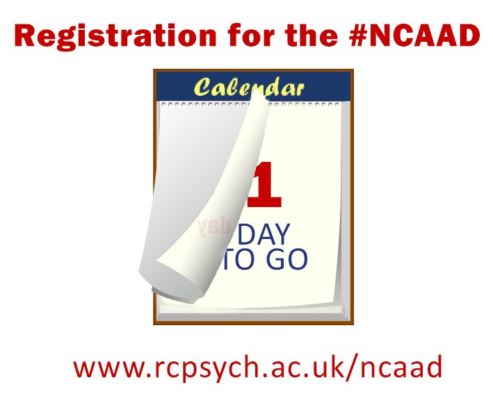 COUNTDOWN - 1⃣ day until registration for the National Clinical Audit of #Anxiety and #Depression opens! There are no registration costs; open to ALL eligible NHS Trusts in England. More info here: https://t.co/qpBfrbfaGY #NCAAD