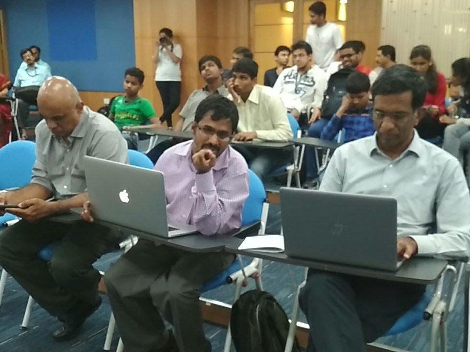 Judges panel at I-STEM Hackathon consist of George, Srinivasu and Prof. Srikanth
