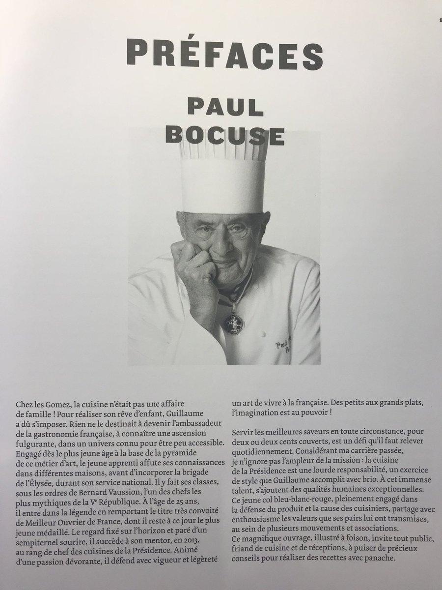 La préface écrite par Paul Bocuse dans le livre de cuisine de @ggomez_chef, le chef de l'Elysee.
