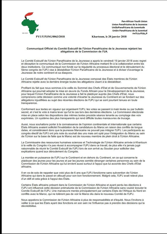 L'Union Panafricaine de la Jeunesse ne se laissera jamais intimidé par des accusations et des décisions  diffamatoires, influencées par des individus qui n'acceptent pas d'avoir perdus des élections. @AUC_MoussaFaki