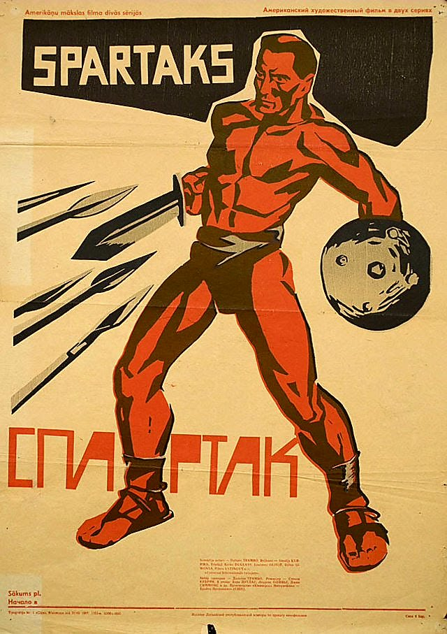 RT @sergioandreola: Russian poster (1967) for #StanleyKubrick's 'Spartacus',1960 https://t.co/0QPnaB61db
