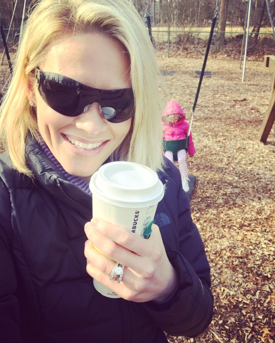 I get coffee. They get swings. Everyone goes home happy. #happysunday  (She's having a blast, I swear.)