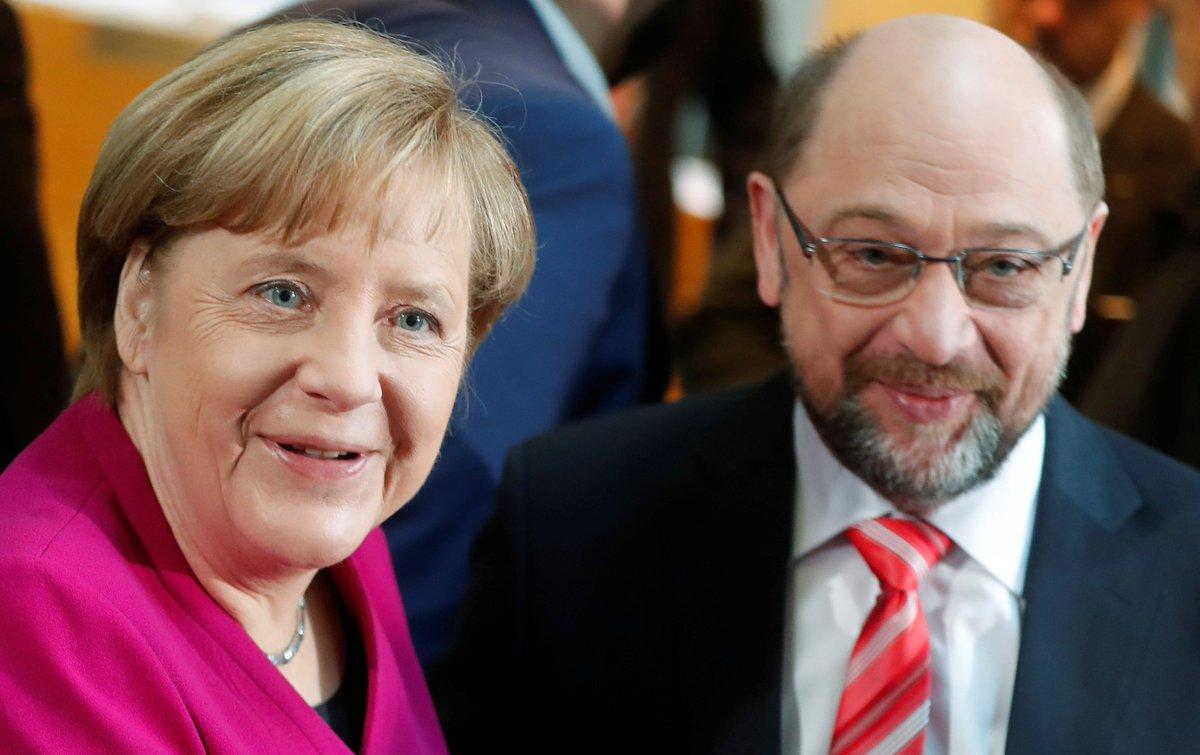 Allemagne 🇩🇪 Le SPD de Martin Schulz approuve le principe d'une #coalition avec Angela Merkel