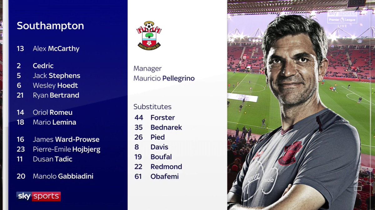 Southampton's starting line-up have scored only 9 PL goals between them this season (11 fewer than Harry Kane).  Michel Vorm makes his 100th PL app, over 9 months after his 99th (Lloris & Eriksen miss out through illness)