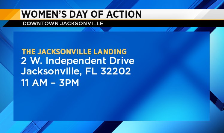 The Women's March continues today in the River City. The Jacksonville chapter of The Women's March is holding a rally from 11 a.m. to 3 p.m. at the Jacksonville Landing.