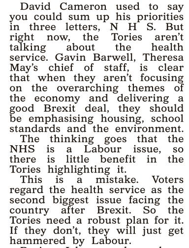 Incredible if true. Chief of Staff to PM , @GavinBarwellMP -according 2 media believes  NHS should NOT be priority fo@Conservativesr  Government - 'as Labour too far ahead'.  Madness. There's an umbilical chord betw GB Public & NHS. They want a Govt that puts NHS first & foremost: