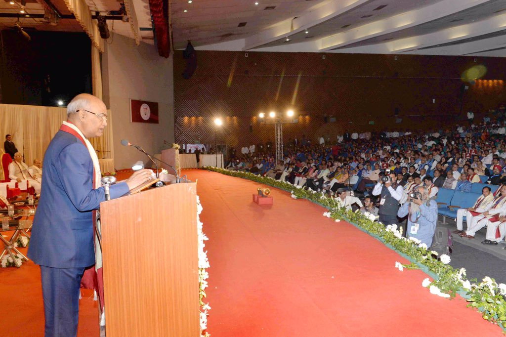 President attends Gujarat University's 66th convocation, 56,159 students awarded degree