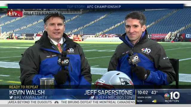 Good times this morning at Gillette ahead of the #AFCChampionship game. #GoPats Tune to #NBC10Boston immediately after the game for complete team coverage.