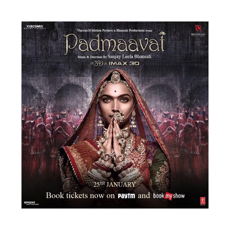 #Padmaavat in theatres on the 25th of January!Now also in 3D,  IMAX 3D,Tamil & Telugu.Bookings open! Get your tickets NOW!   #4DaysToPadmaavathttps://t.co/2pR4DD3bnZhttps://t.co/02HTp69cC2