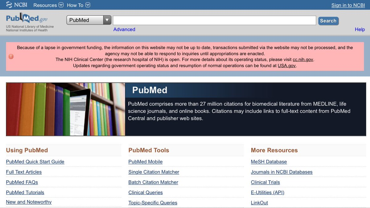 RT @weldeiry: Sad to see that PubMed is out of date during  US government shutdown. https://t.co/LEg8twE06E